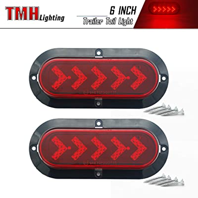 TMH (Pack of 2) 6 Inch 25 ARROW LED Surface Mount Oval Red Stop Brake Marker Tail LED Light, for Truck Trailer Trail Bus 12V DC: Automotive