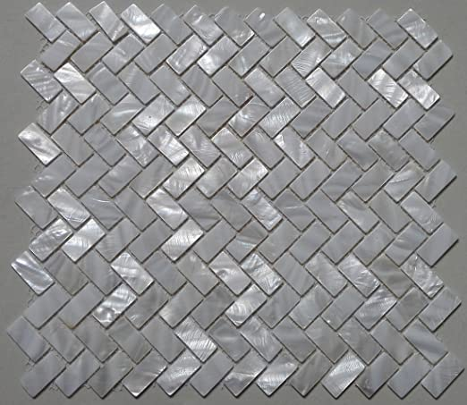 11PCS White shell mosaic zip herringbone kitchen bathroom decoration wall tile