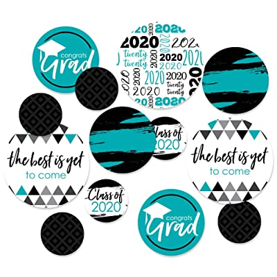 Big Dot of Happiness Teal Grad - Best is Yet to Come - 2020 Graduation Party Giant Circle Confetti - Turquoise Grad Party Decorations - Large Confetti 27 Count: Health & Personal Care
