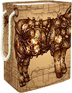 DJROW Laundru Baskets Steampunk Pig Collapsible Laundry Hamper for Bathroom Bedroom Home Toys and Clothing Organization
