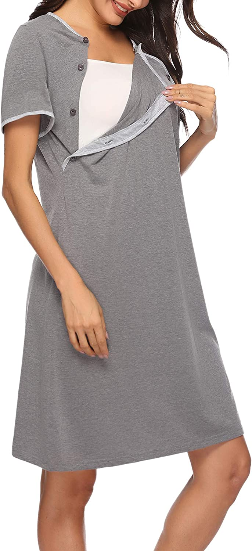 Sykooria Women/'s Breastfeeding Dress Nursing Nightdress Maternity Pyjamas Set Nursing Sleepwear Nightwear