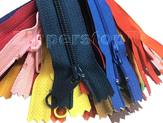 100 YKK Nylon Zippers 7 Inches Coil #3 Closed Bottom Assorted Colors