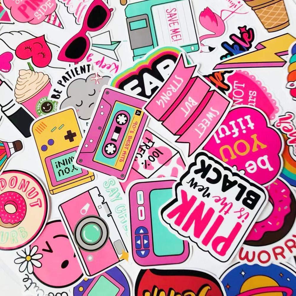Mizzuco Vinyl Stickers Waterproof Graffiti Stickers 61 Pieces for Teens Girls Laptop Bumper Helmet Ipad Car Luggage Water Bottle (KA155)