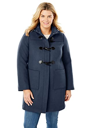 e34b29af0ee Woman Within Women s Plus Size Classic Duffle Coat - Navy