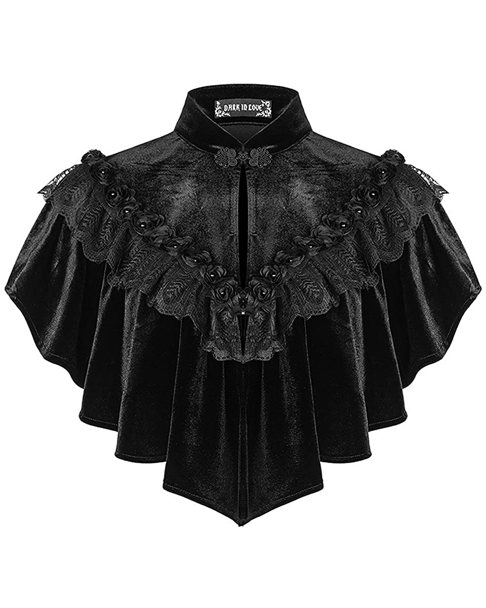 Dark In Love Womens Gothic Shrug Cape Black Velvet Shawl Steampunk VTG Victorian