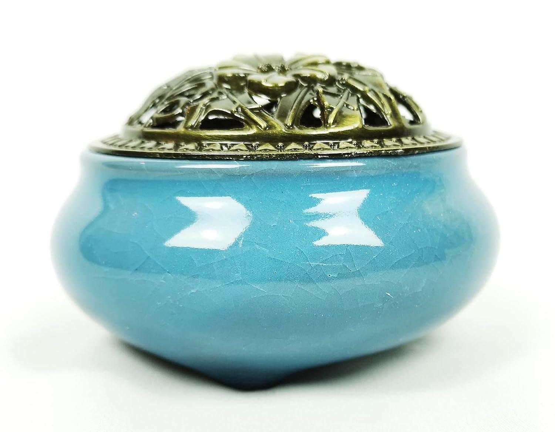 Arabian Aromas Crackled Ceramic Decorative Bakhoor Incense Burner Censer Metal Lid (Blue)