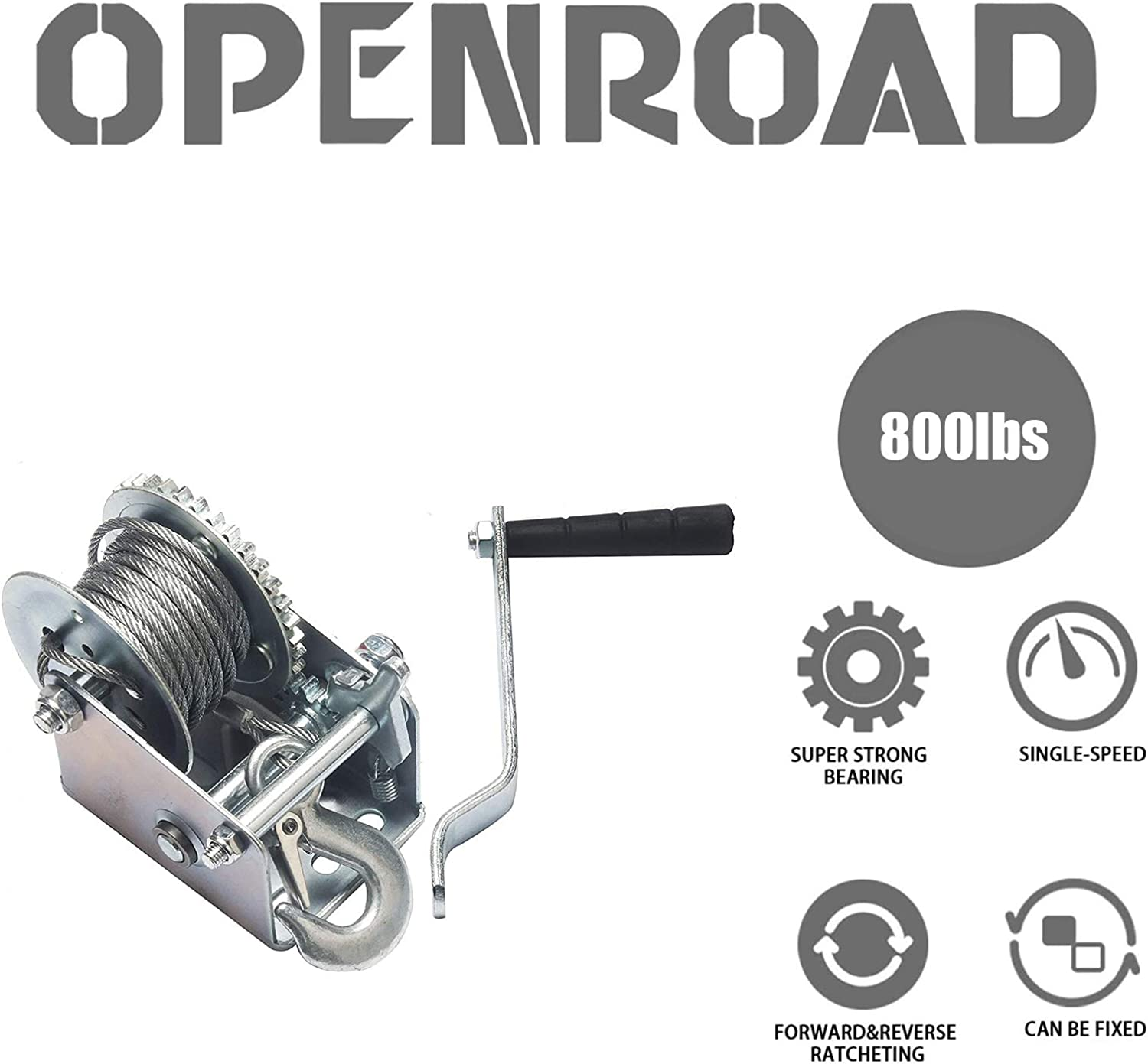 26ft Manual Winch Operated Two-Way Ratchet Boat Trailer Marine Winch Hand Crank Winch with 8m OPENROAD 800lbs Hand Winch Towing Winch(800lbs