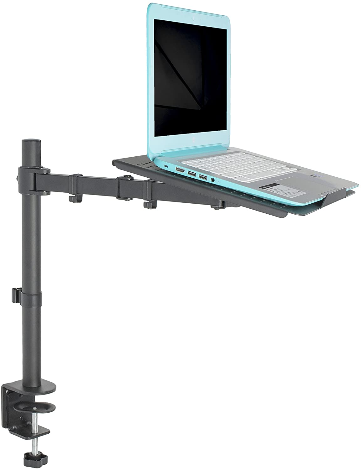 VIVO Single Laptop Notebook Desk Mount Stand - Fully Adjustable Extension with C Clamp (STAND-V001L)