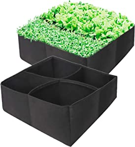 Kingrol 2-Pack Raised Garden Planter Fabric Bed, 4 Divided Grids Durable Square Planting Grow Bags for Carrot Onion Vegetable Herb Flower