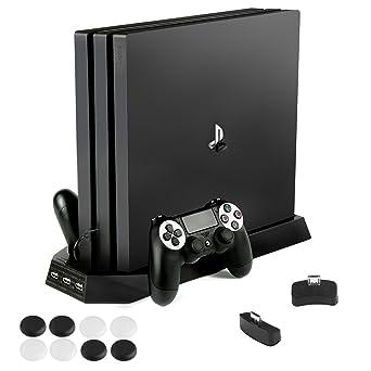 PECHAM PS4 Pro Ventilador de soporte vertical con controlador Dualshock Estación de carga Puerto USB de