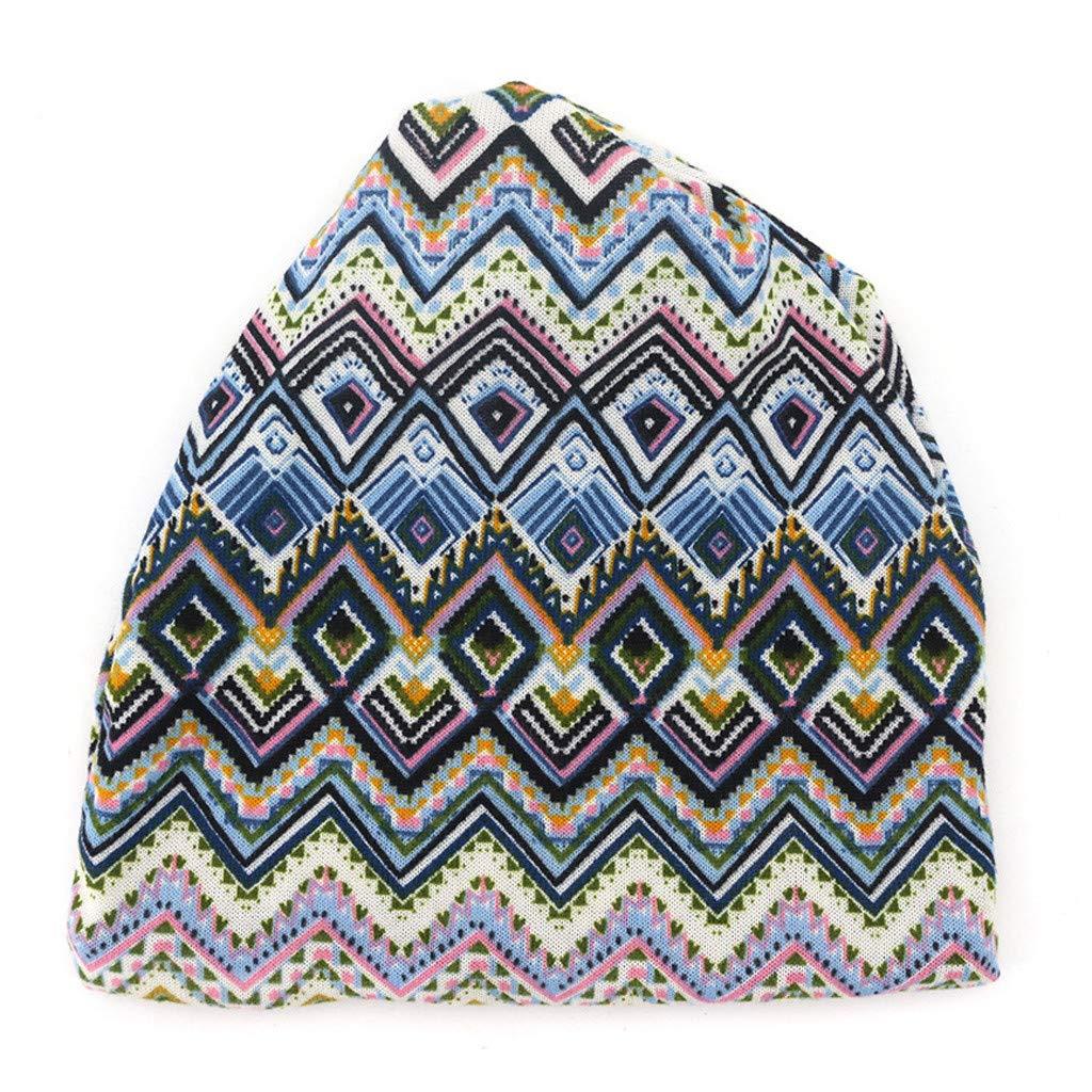 Doingshop Slouch Beanie Hat Geometry Retro Print Unisex Skull Cap Thin Baggy Windproof Breathable Headwear