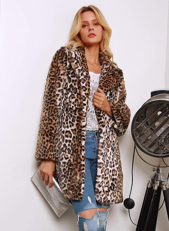 Womens Thick Warm Fur Leopard Lapel Collar Coat Mid Long Parka Outwear Plus Size