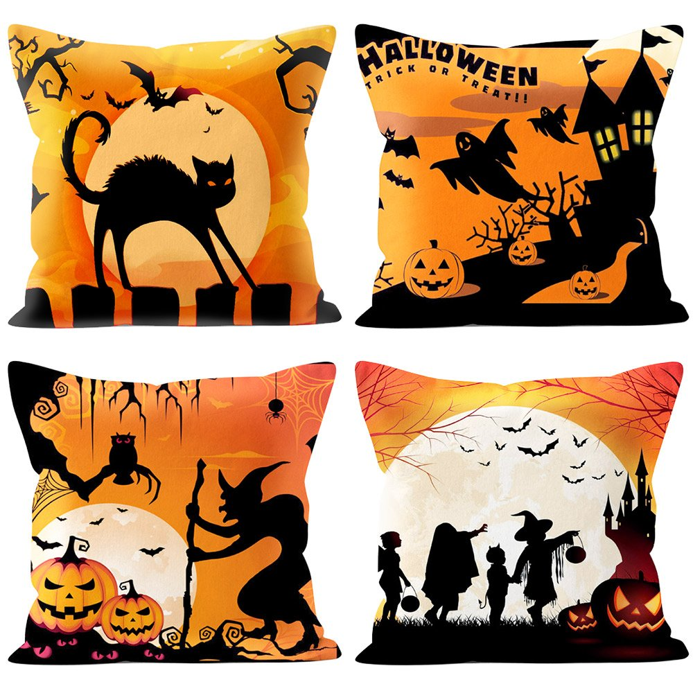 4 Packs Halloween Pillows Cover Decorations Pumpkin Bat Goast Cat Pillow Cases Decor Halloween Throw Pillow Case Sofa Waist Throw Cushion Covers Home Decor Square 18 x 18 inches by USTYLES