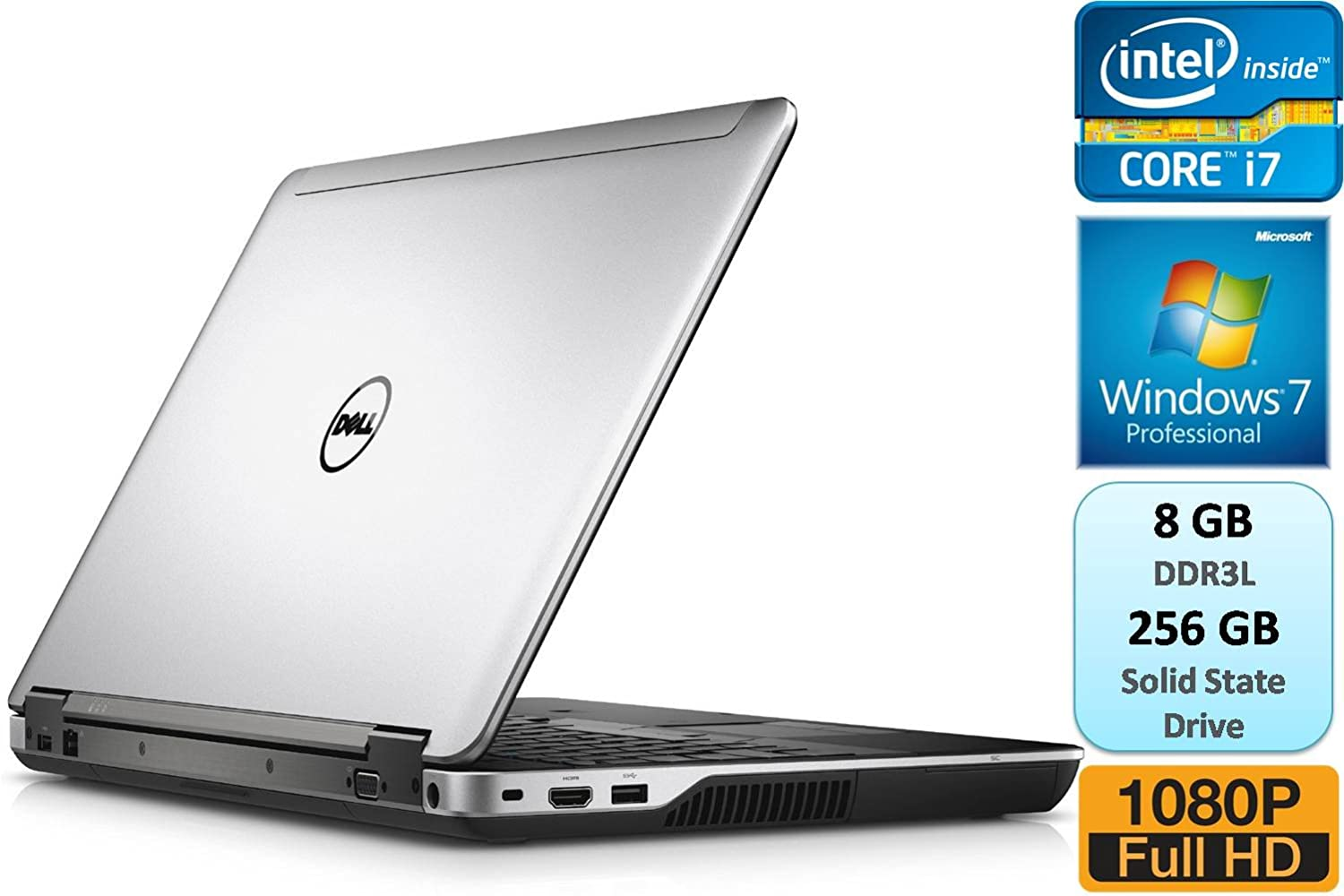 Dell Latitude E6440 Business Laptop Full HD 1920x1080 Intel Core i7 i7-4610M 3.0GHz 8GB DDR3L 256GB SSD Windows 7 Professional Webcam DVDRW