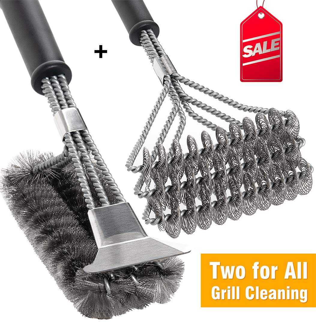 BBQ Grill Brush Set of 2, Safe Grill Cleaning Brush Stainless Steel Bristle Free with Scraper for Porcelain, Cast Iron, Stainless Steel, Ceramic Grill Grate Cooking Grid, 18'' Grill Tools Accessories