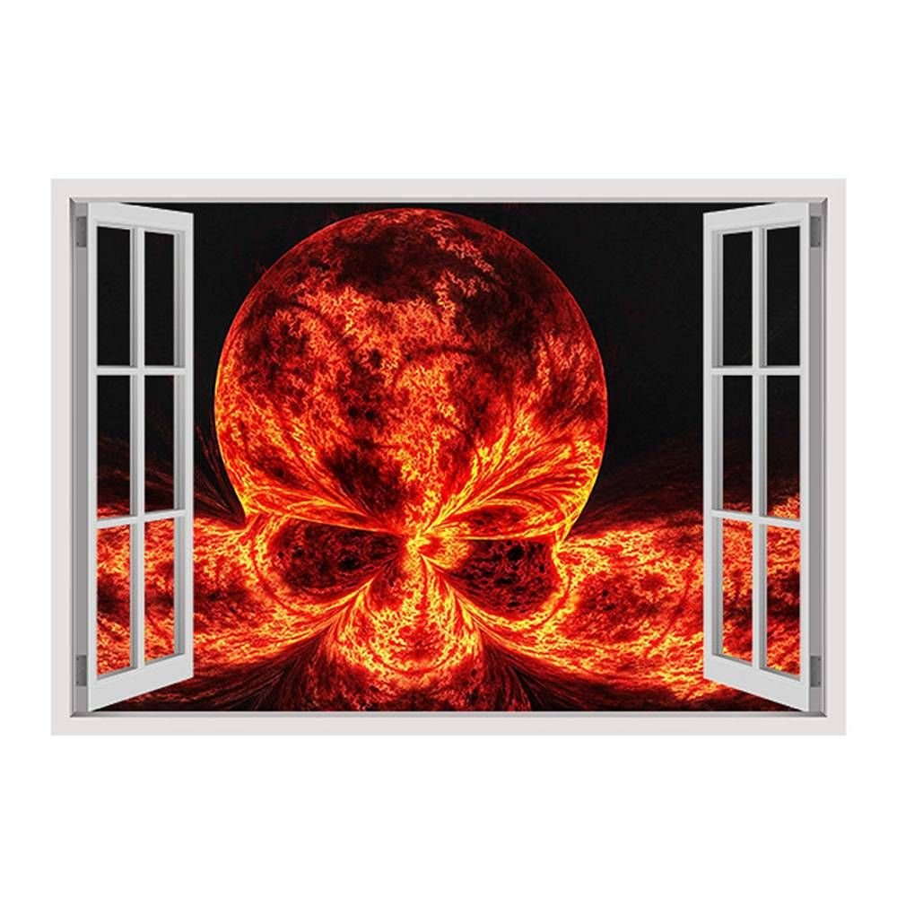 Alonline Art - Skull On Fire Fake 3D Window Framed Stretched Canvas (100% Cotton) Gallery Wrapped - Ready to Hang | 34''x24'' - 85x61cm | Frame Oil Painting Print Framed Art Framed Print Giclee