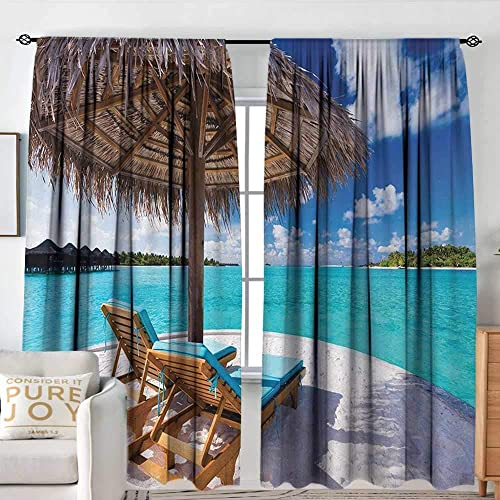 Window Blackout Curtains Beach,Maldives Scenic Seaside View Sunbeds Under Umbrella Romantic Honeymoon Theme,Brown Aqua White,Rod Pocket Curtain Panel