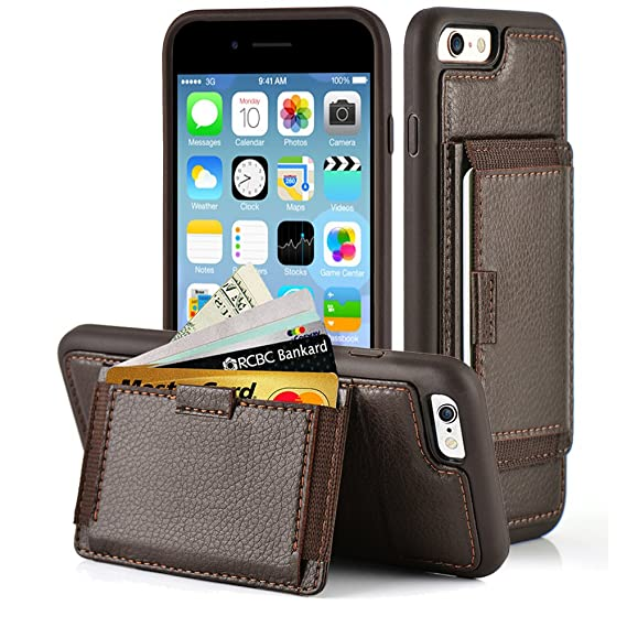 online store 7522d d1732 ZVE Case for iPhone 6s Plus and iPhone 6 Plus, 5.5 inch, Leather Wallet  Case with Credit Card Holder Slot with Kickstand Carrying Protective Cover  ...