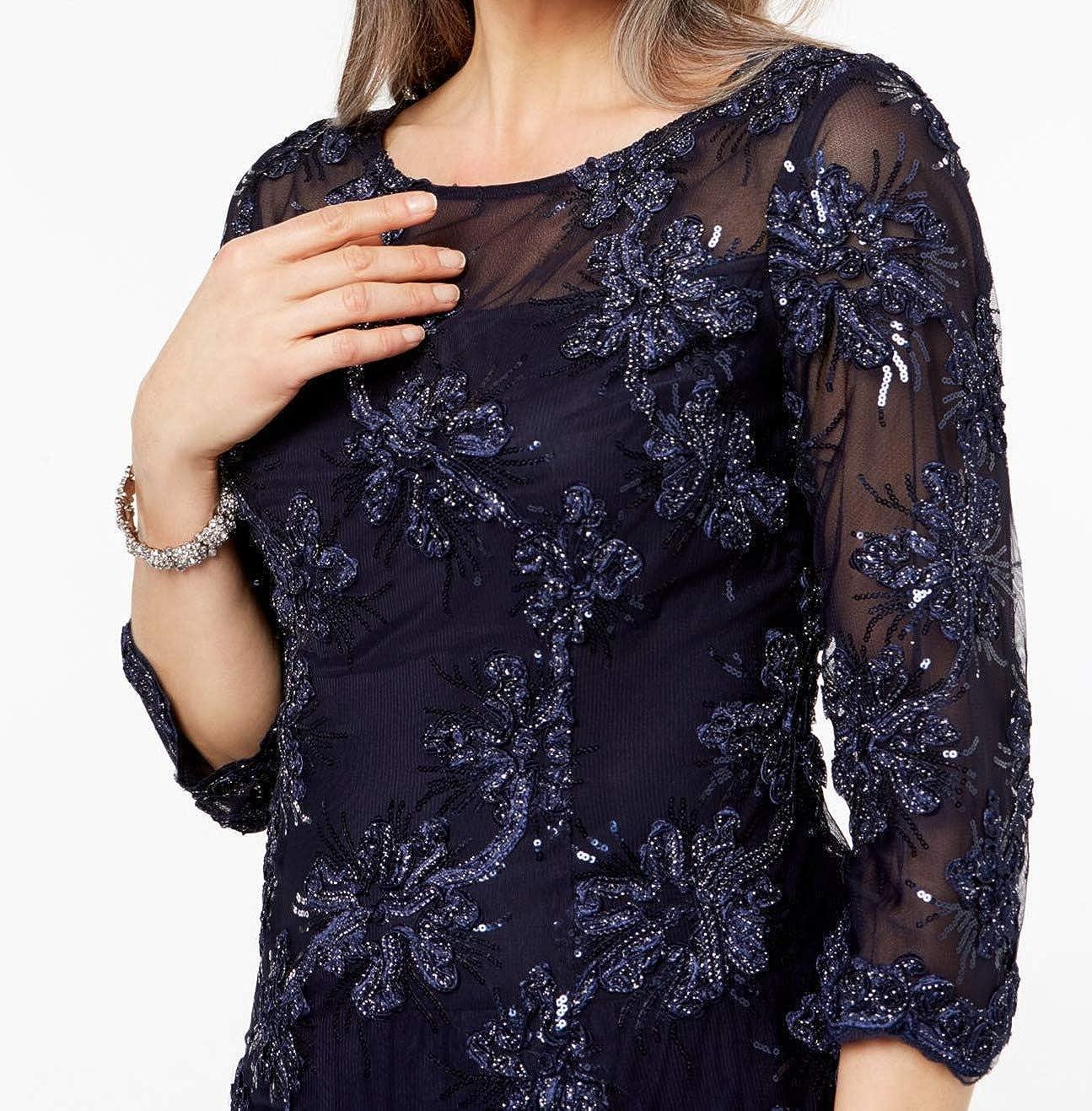 105728ba02e Alex Evenings Navy mesh Sequin Women s A-Line Dress Blue 6 at Amazon  Women s Clothing store