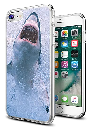 newest 71ac5 62e24 Shark Case for iPhone 8/iPhone 7,Gifun [Anti-Slide] and [Drop Protection]  Clear Soft TPU Premium Flexible Protective Case for Apple iPhone 8/iPhone 7  ...
