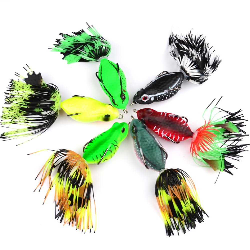 Zanteca - Señuelos de pesca con rana suave con borla en la cola para bajo, Snakehead, colores al azar, 6,35 cm/20 g