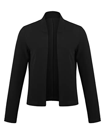 1389aee21a Concep Women Collarless Open Front Blazer Long Sleeve Slim Fit Cropped  Jacket (Black S