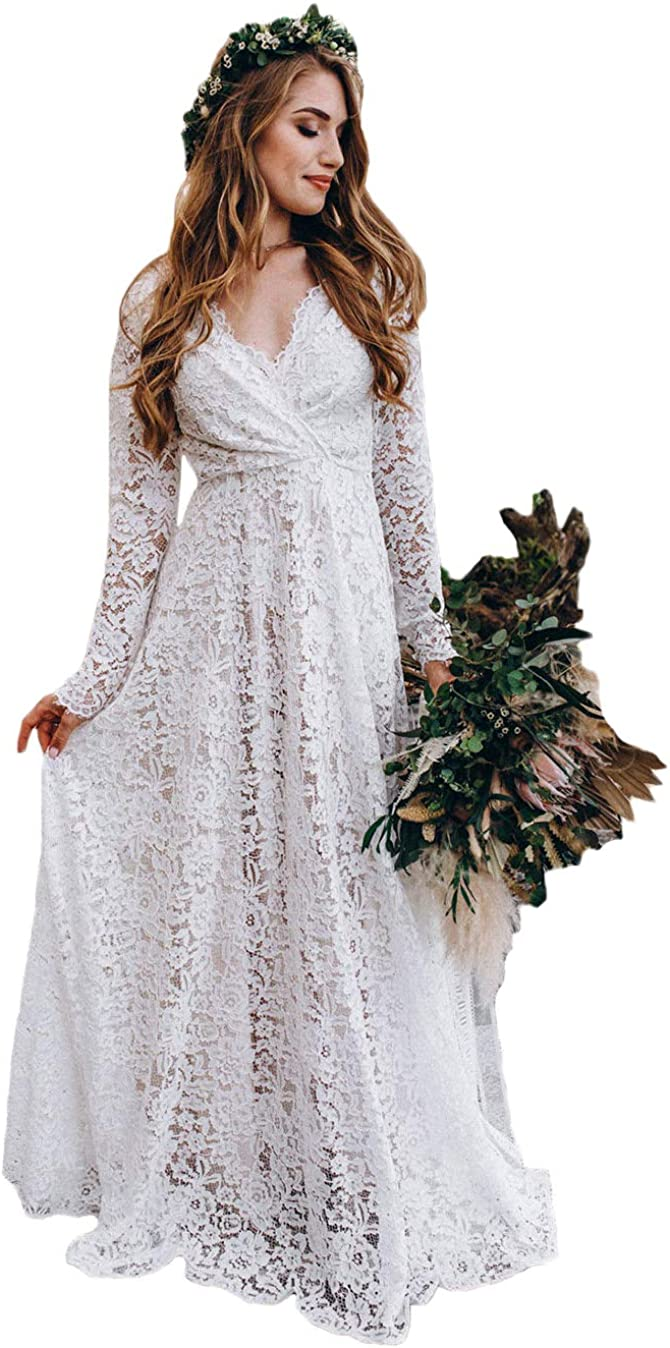 Tsbridal Austin Mall Women Limited time sale Wedding Dresses A-line Backless Tulle Lace V-Neck