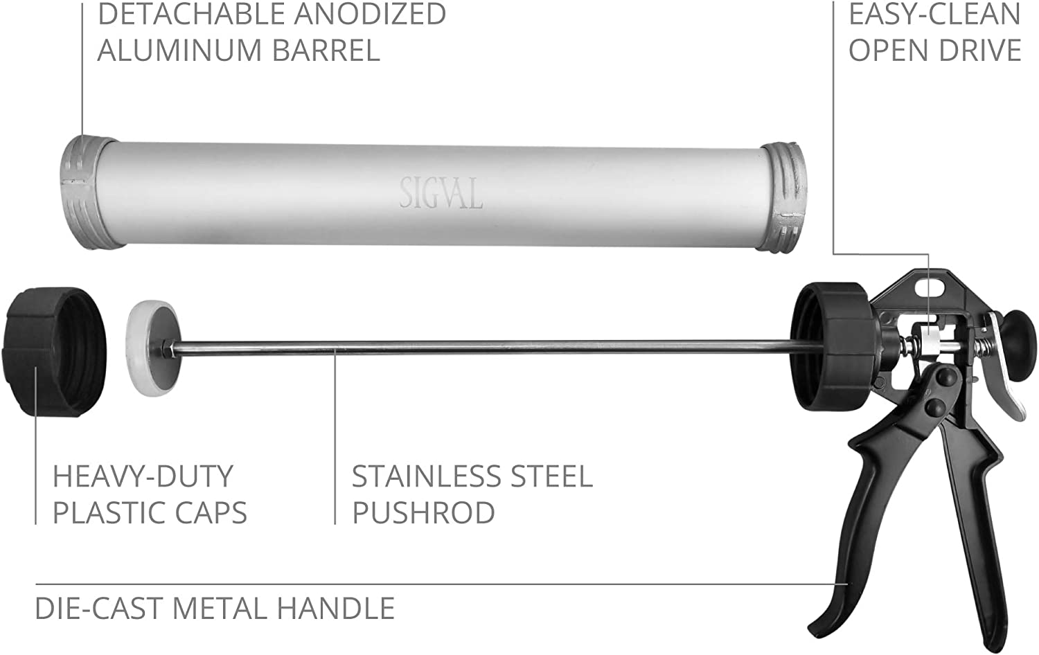 SIGVAL Jerky Gun Stainless Steel Nozzles Easy to Clean Aluminum Barrel Beefy 1.5 Pound Capacity