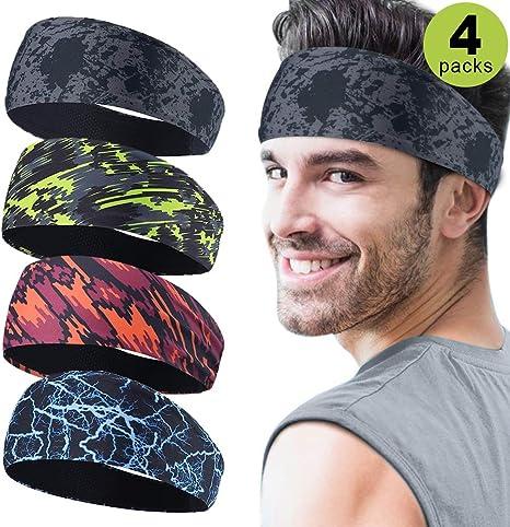 Bandas para la cabeza deportivas para hombre, 4 paquetes, cinta ...