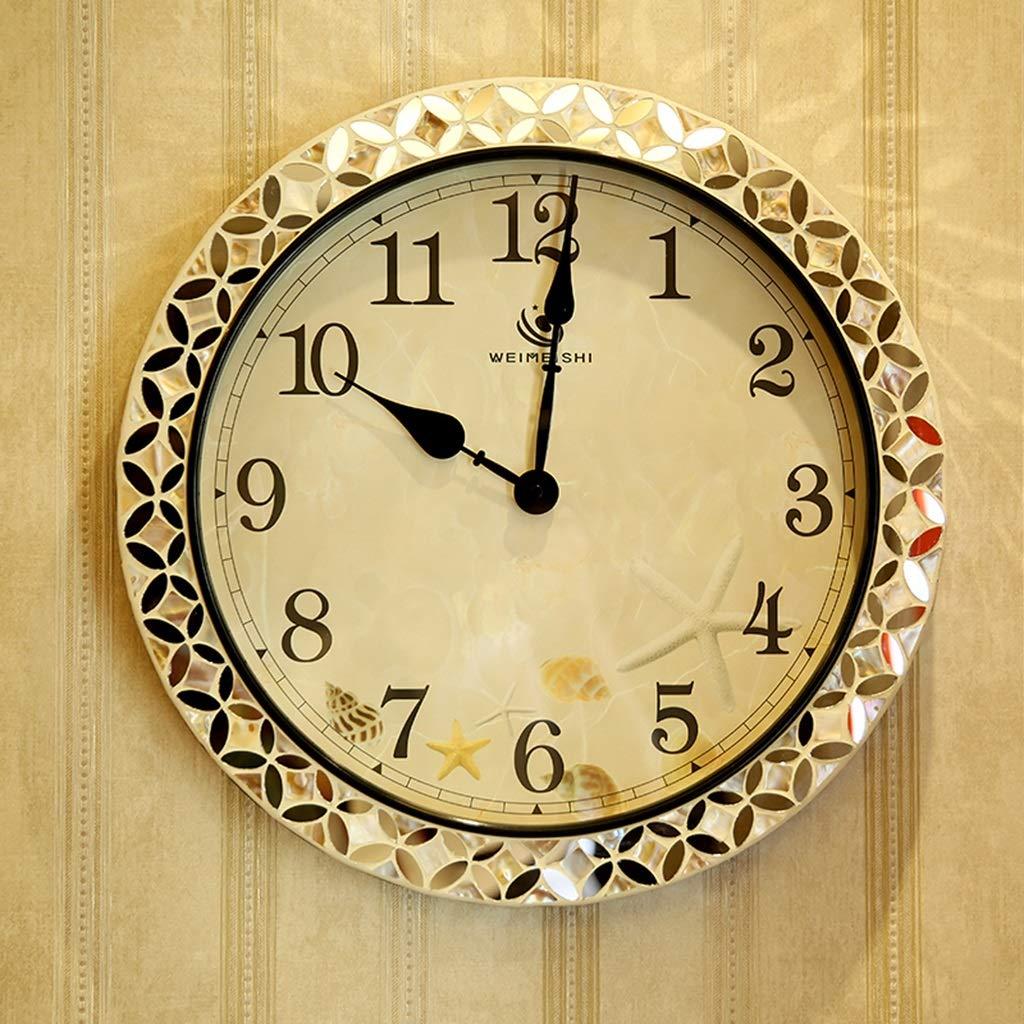 IUYWL壁時計 大好評です ホームリビングルームシェルラウンド掛け時計アメリカンスタイルの寝室の装飾掛け時計 B07TWCWY3H 新品