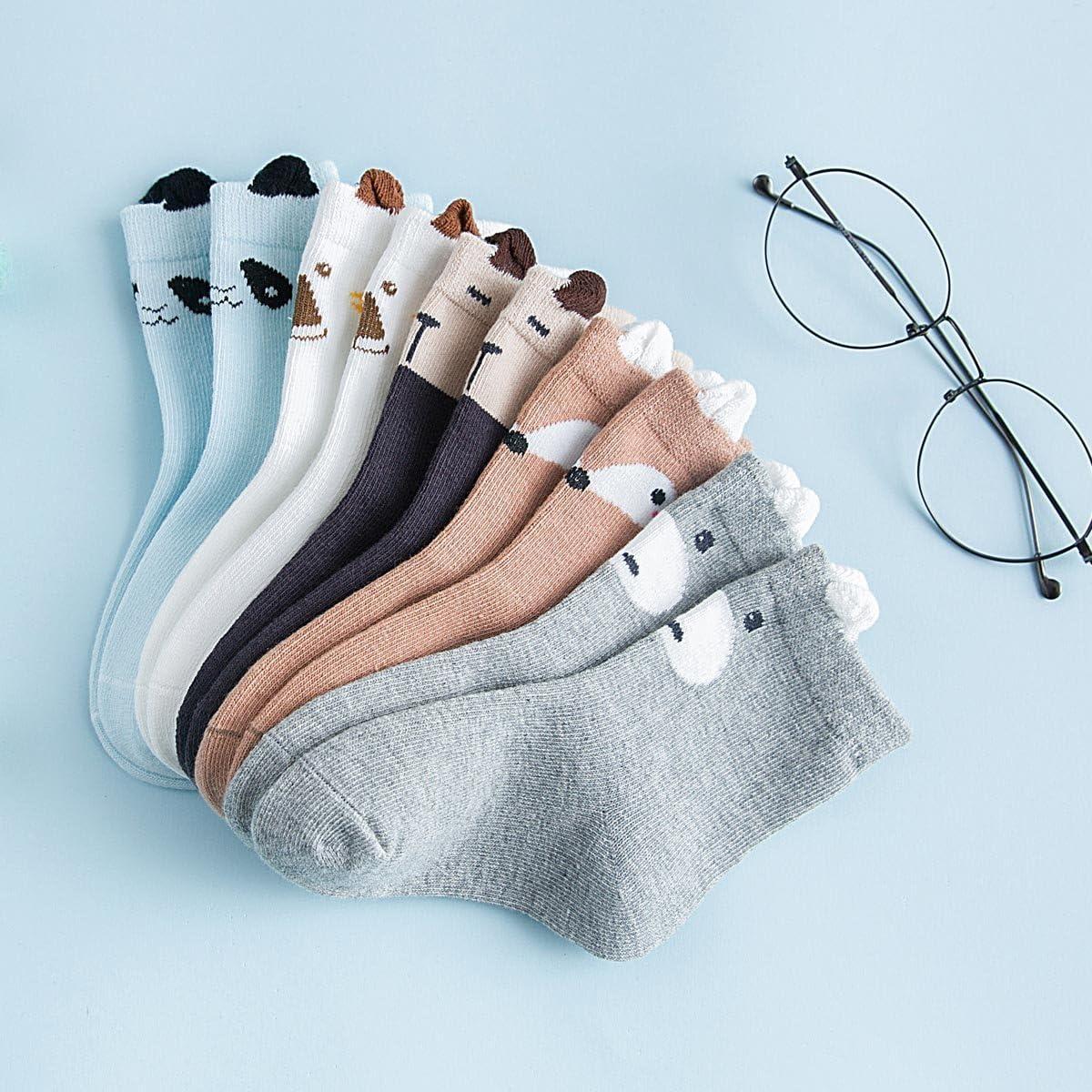 Aivtalk Baby Boys Girls Socks Cotton Warm Ankle High Socks 5 Pairs Assorted Socks Set