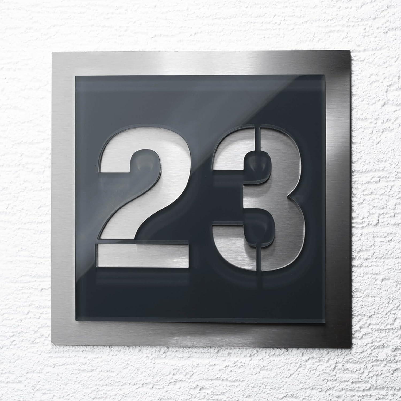 Hausnummer-Platte – anthrazit - aus Acrylglas & Edelstahl – mit Gravur – alle Ziffern möglich – komplett montagefertig Metzler-Trade