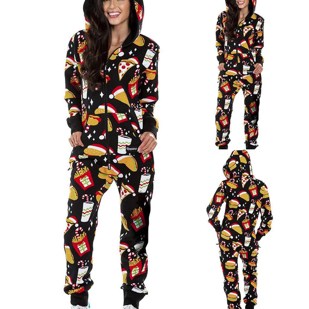 Spritumn Womens Christmas Onesie Hooded Onesies All in One Jumpsuit Playsuit Nightwear Soft Fleece Kids Adult Onesies