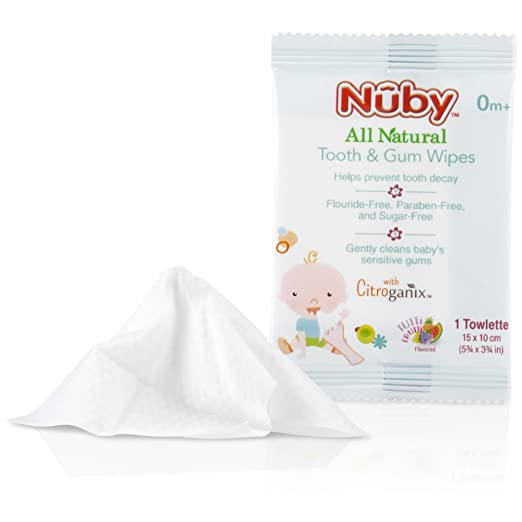Amazon.com: Nuby All Natural Baby Tooth and Gum Wipes with Citroganix, 36 Count, Pack of 1: Beauty