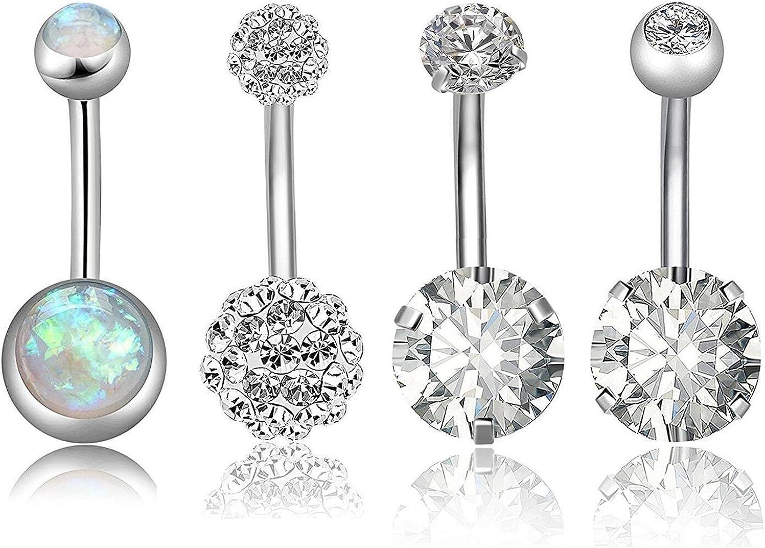 Stainless Steel Bar Belly Navel Ring Crystal Flower Body Piercing Women J.hc