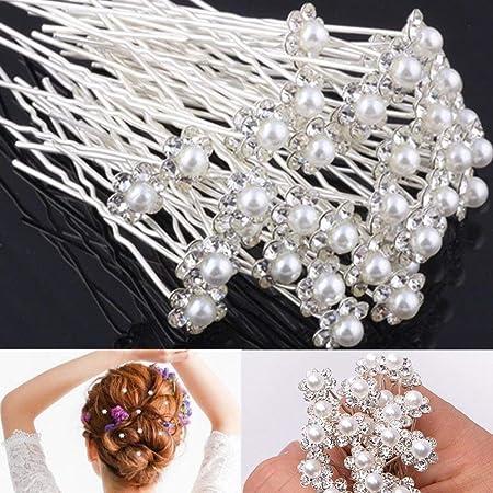 40 x Clear Crystal Rhinestone Diamante Hair Pins Wedding Bridal Prom