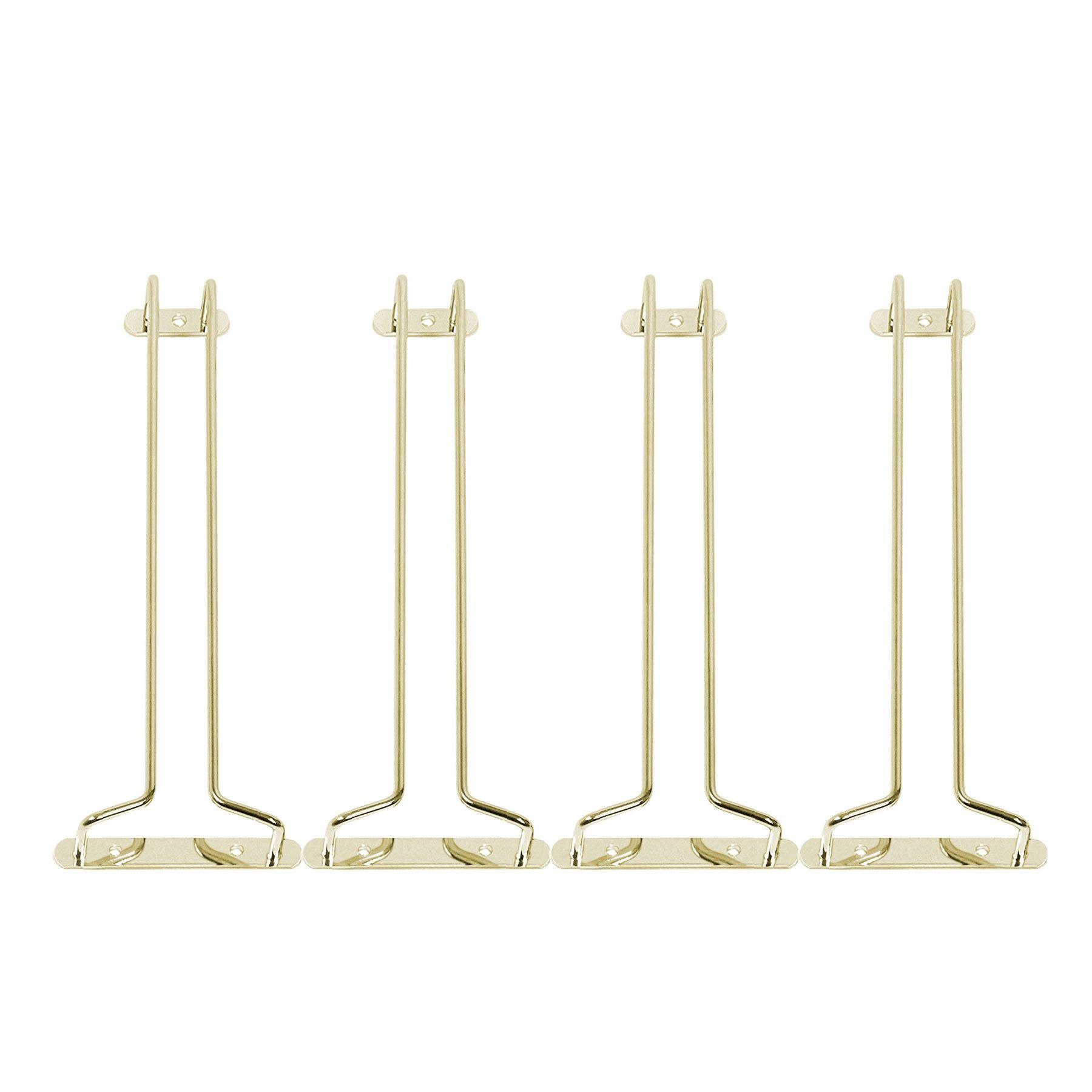 KegWorks Stemware Glass Hanger Racks - Polished Brass - 10''L - Set of 4