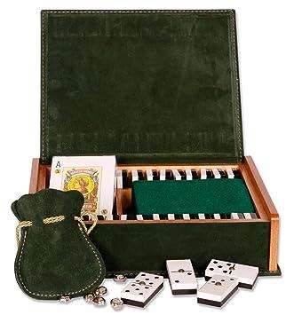 Estuche de Juegos, Caja de madera forrada en piel de serraje, HECHO EN UBRIQUE, no asiatico.: Amazon.es: Juguetes y juegos