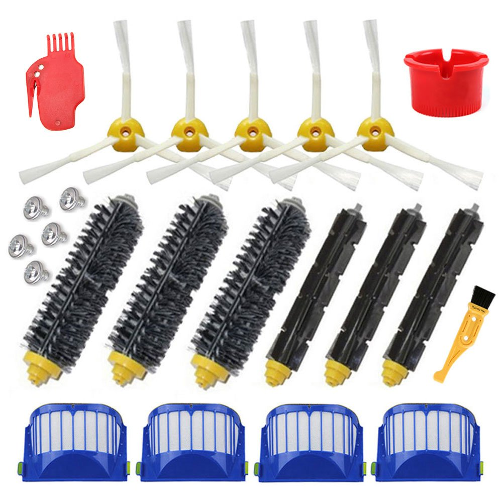 Theresa Hay Accessory for Irobot Roomba 600 614 620 650 671 675 690 Series Vacuum Cleaner Replacement Part Kit - Includes Filter, Side Brush, Bristle Brush and Flexible Beater Brush,Cleaning Tool