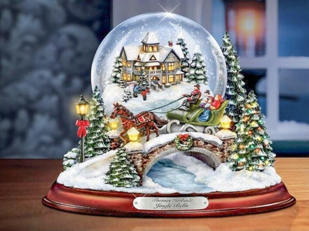 Weihnachten Diamant Malerei Schnee Globus 5D DIY Voll Bohren Winter ...