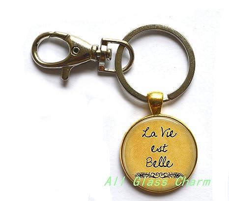 Amazon Com Charming Keychain La Vie Est Belle Life Is