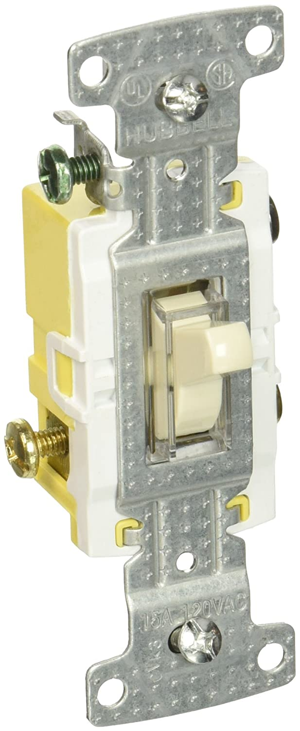hubbell wiring systems rs315illa tradeselect three way illuminated toggle  switch with self-grounding, push and side wire termination, 15a, 120v ac,