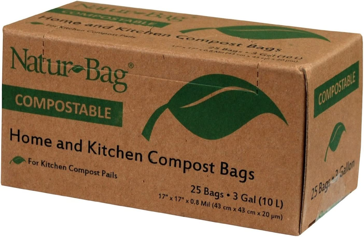 (Pack of 3) Natur-Bag Small Food Waste Compostable Bags - 3 Gallon, 25 Bags