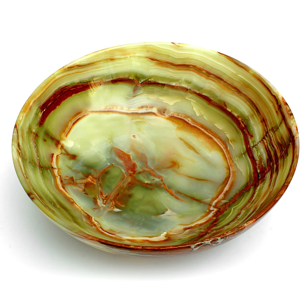 Natures Artifacts Beautifully handcrafted Multi Green Onyx Serving Bowl - 100% Natural Stone - 8'' by Natures Artifacts