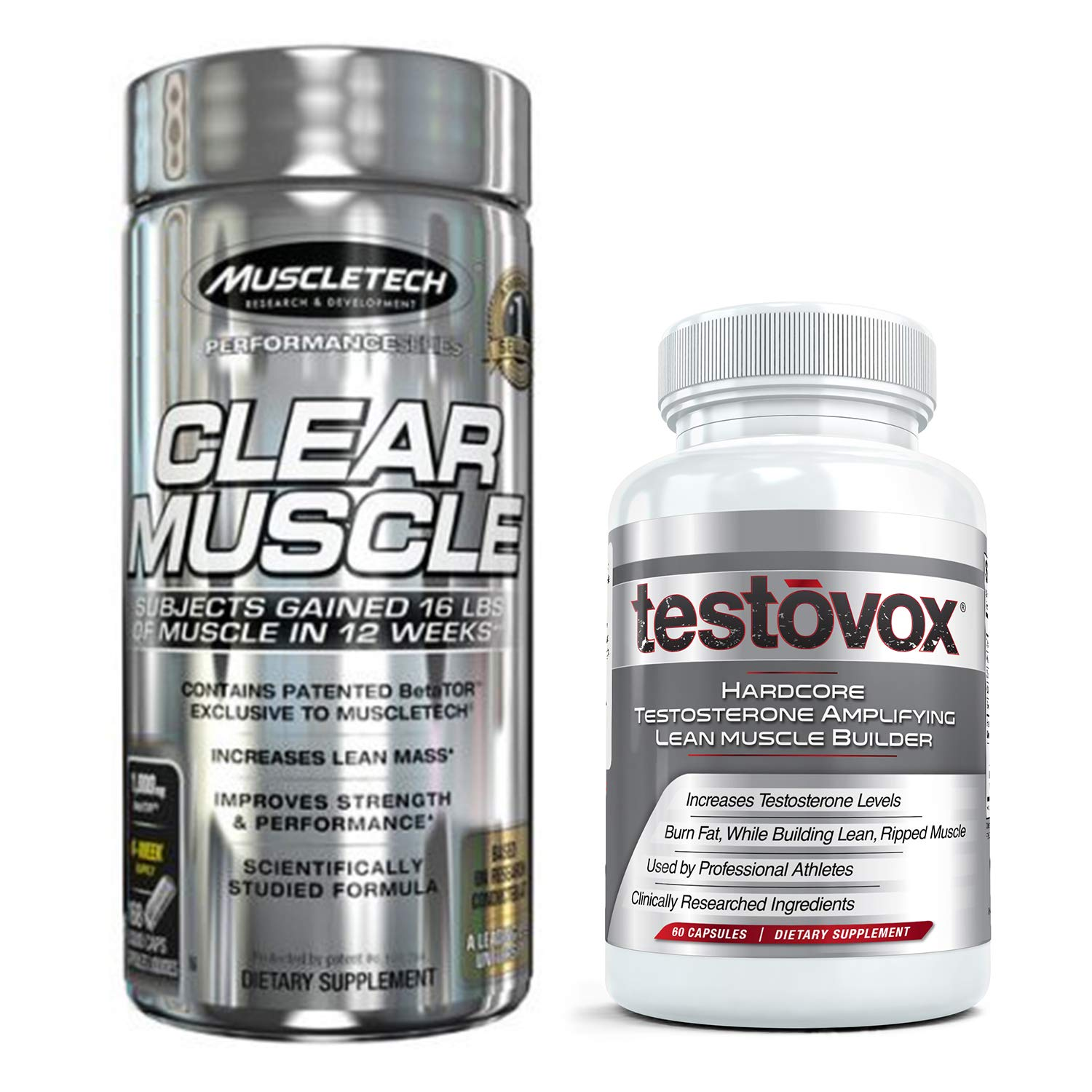 Clear Muscle (168 Capsules) & Testovox (60 Capsules) - Most Advanced Muscle & Strength Building Combo. High Performance Bodybuilding Supplement Stack by Muscle Tech Clear-Muscle