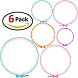 ZesGood 6 Pack Plastic Embroidery Hoops Circle, Cross-Stitch Hoops Set in 6 Different Size