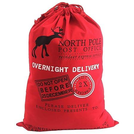 c5807d94255 Style Slice 1 X Red Extra Large Santa Sack - Personalised Christmas Eve Bag  Drawstring Hessian