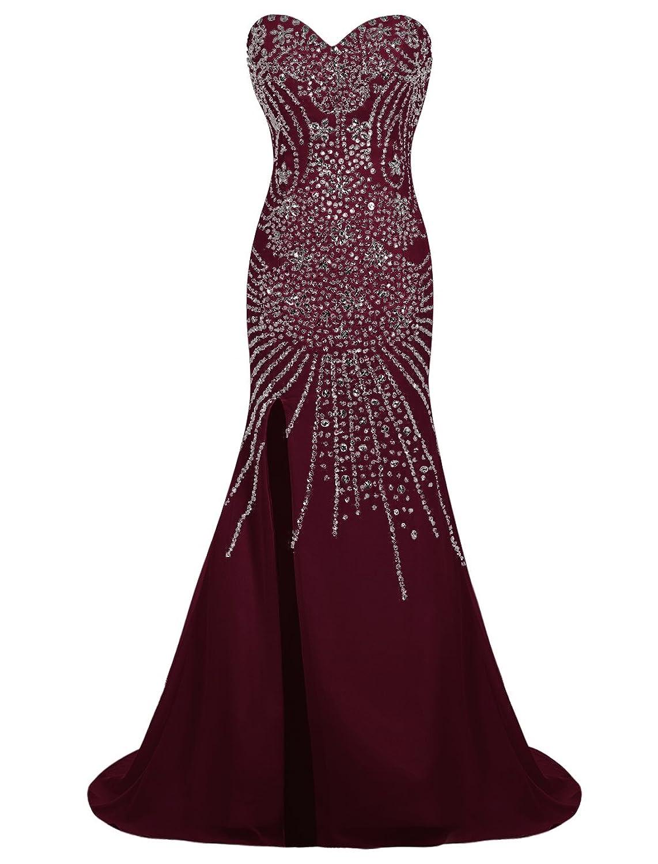 Dresstells? Long Chiffon Sweetheart Prom Dress with Beading Split Front Wedding Dress Maxi Dress