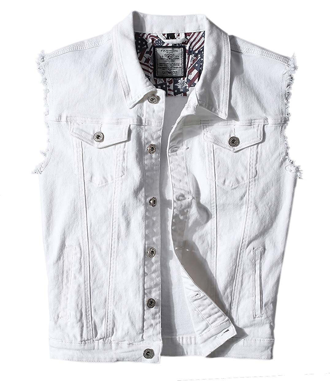 Heihuohua Men's Casual Button-Down Denim Vest Trucker Jean Jacket