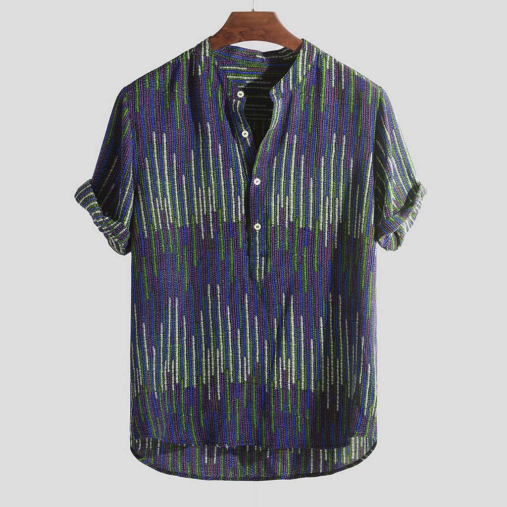 ☀ Stand Collar Colorful Stripe Button Henry Short Sleeve Loose Shirt iYBUIA Mens Fashion Printed T-Shirts